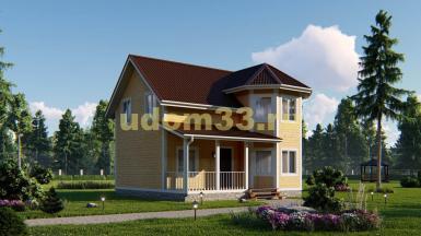 Двухэтажный каркасный дом с эркером. Проект ДК-82 «Лада»