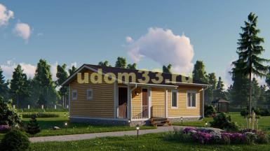 Одноэтажный каркасный дом 9.8х10.3 с сауной. Проект ДК-91 «Пионер»