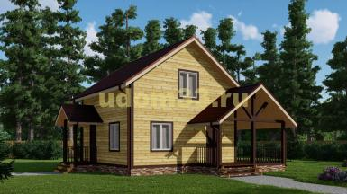 Недорогой двухэтажный дачный дом 8.5х9. Проект ДКД-32