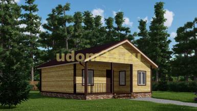 Одноэтажный дачный дом с террасой. Проект ДКД-34