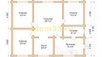 Дом из бревна 9.1х12.1 под ключ. Проект ДБР-24 - планировка первого этажа