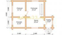 Дом из бревна 5х7.5 под ключ. Проект ДБР-26 - планировка первого этажа