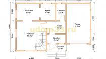 Каркасный дом 7х10.8 с гаражом. Проект ДК-10 - планировка первого этажа