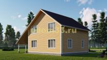 Каркасный дом 9х13 с навесом. Проект ДК-14