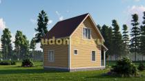 Двухэтажный каркасный дом 6х7 с эркером. Проект ДК-20