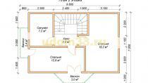 Двухэтажный каркасный дом 7х12 с эркером и балконами. Проект ДК-23 - планировка второго этажа