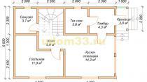 Каркасный дом 6х9.5 в два этажа для круглогодичного проживания. Проект ДК-25 - планировка первого этажа