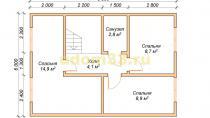 Каркасный дом 6х9.5 в два этажа для круглогодичного проживания. Проект ДК-25 - планировка второго этажа