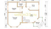 Двухэтажный каркасный дом 7х10 с эркером. Проект ДК-26 - планировка первого этажа