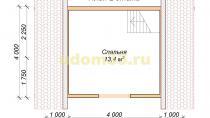 Каркасный дом 6х6 эконом класса. Проект ДК-29 - планировка второго этажа