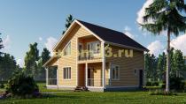 Красивый двухэтажный каркасный дом 8х10. Проект ДК-3