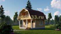 Небольшой каркасный дом 6х6 с балконом. Проект ДК-31