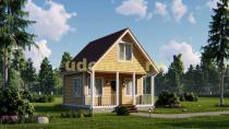Каркасный дачный дом 6х6 с террасой. Проект ДК-32