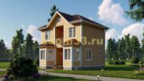 Двухэтажный каркасный дом 6х8 с эркерами. Проект ДК-5