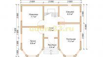 Двухэтажный каркасный дом 6х8 с эркерами. Проект ДК-5 - планировка первого этажа