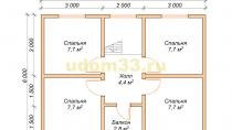 Двухэтажный каркасный дом 6х8 с эркерами. Проект ДК-5 - планировка второго этажа