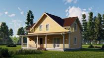 Двухэтажный каркасный дом 11.8х12. Проект ДК-61