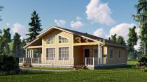 Просторный каркасный дом 13.6х14 с террасой. Проект ДК-63