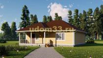 Одноэтажный каркасный дом 12х13.4. Проект ДК-65