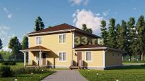 Большой двухэтажный каркасный дом 14х15 с гаражом. Проект ДК-66
