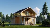 Двухэтажный каркасный дом с балконом. Проект ДК-75 «Ладога»