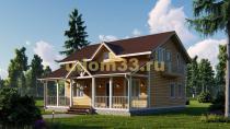 Двухэтажный каркасный дом 10х10.5 с террасой и балконами. Проект ДК-8