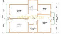 Двухэтажный каркасный дом 10х10.5 с террасой и балконами. Проект ДК-8 - планировка второго этажа