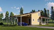 Современный каркасный дом с баней. Проект ДК-89 «Фаворит»