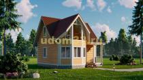 Красивый каркасный домик 7х7 с эркером. Проект ДК-9