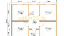 Дачный дом 6х8 под ключ. Проект ДКД-1 - планировка второго этажа